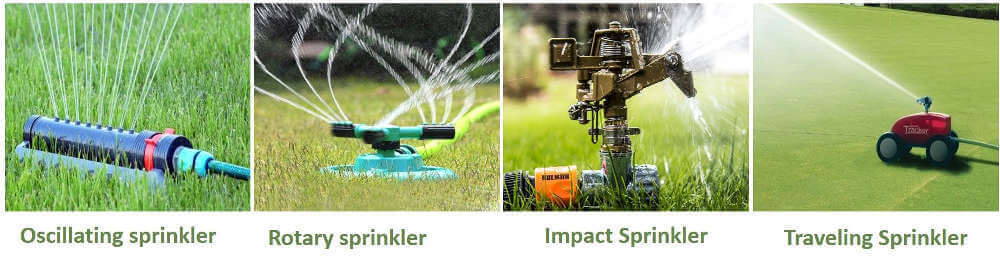 Types of watering sprinklers